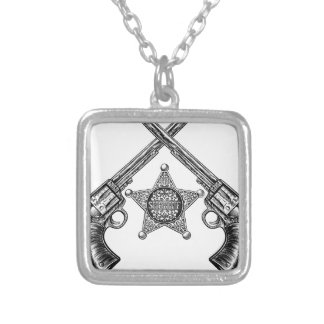 Sheriff Star Badge and Crossed Pistols Silver Plated Necklace