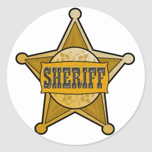 Sheriff Star Badge Emblem Party Favor - Classic Round ...