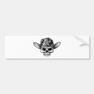 Sheriff Star Badge Skull Cowboy Hat Bumper Sticker