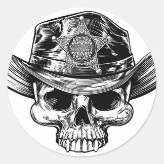 Sheriff Star Badge Skull Cowboy Hat Classic Round Sticker