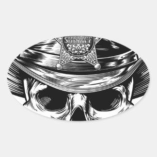 Sheriff Star Badge Skull Cowboy Hat Oval Sticker