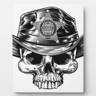 Sheriff Star Badge Skull Cowboy Hat Plaque