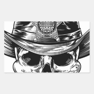 Sheriff Star Badge Skull Cowboy Hat Rectangular Sticker