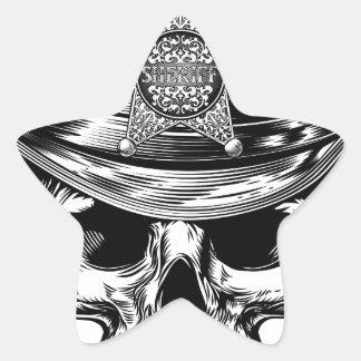 Sheriff Star Badge Skull Cowboy Hat Star Sticker