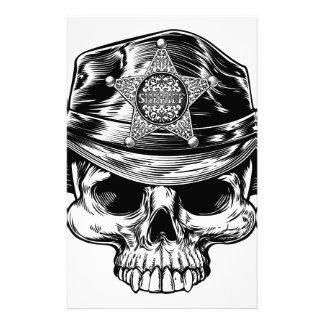 Sheriff Star Badge Skull Cowboy Hat Stationery