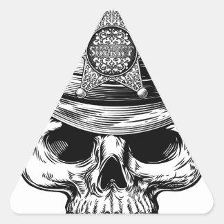 Sheriff Star Badge Skull Cowboy Hat Triangle Sticker