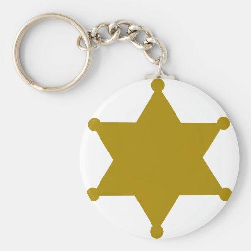 Sheriff star basic round button keychain