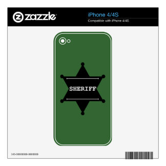 Sheriff Star - Black & White Skin For The iPhone 4