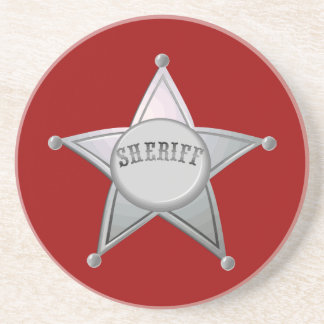 Sheriff Star Law Man Law Officer Police Badge Sandstone Coaster