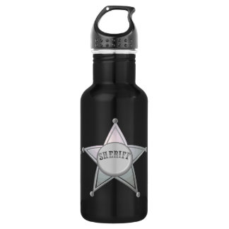 Sheriff Star Law Man Law Officer Police Badge Stainless Steel Water Bottle