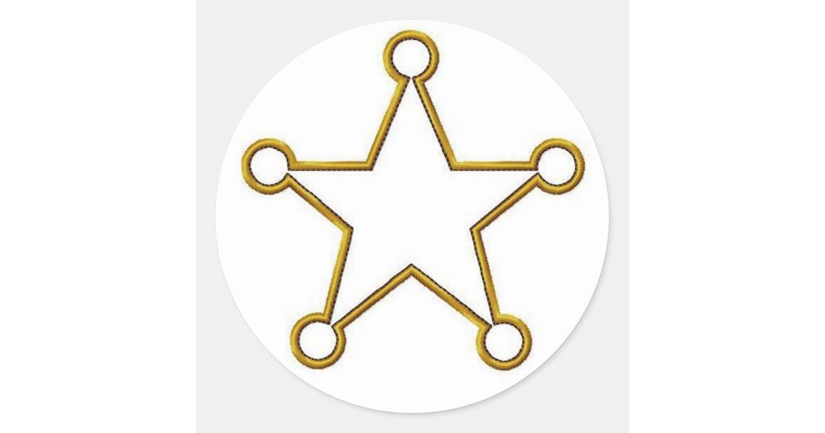 Sheriff Star Name badge Classic Round Sticker | Zazzle