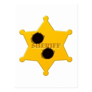 Sheriff star of bullet holes sheriff's star bullet post card