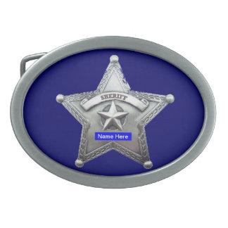 Sheriff Thin Blue Line Badge Oval Belt Buckles