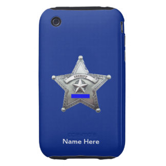 Sheriff Thin Blue Line Badge Tough iPhone 3 Cases