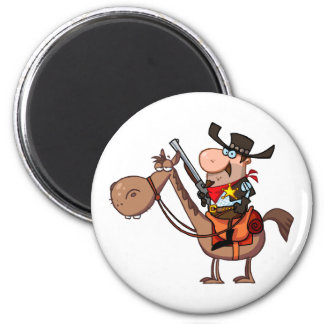 Sheriff With Gun On Horse 2 Inch Round Magnet