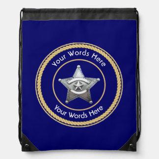 Sheriff's Badge Universal Custom Drawstring Backpack