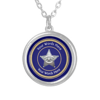Sheriff's Badge Universal Custom Silver Plated Necklace