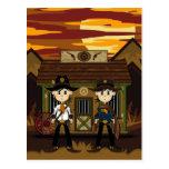 Sheriffs del vaquero en la postal de la cárcel