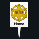 "Sheriffs Star Badge Cake Topper<br><div class=""desc"">Large golden Sheriffs star badge is the perfect gifts for the sheriff or deputy sheriff in your life! Support law enforcement!</div>"