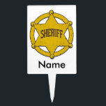"""Sheriffs Star Badge Cake Topper<br><div class=""""desc"""">Large golden Sheriffs star badge is the perfect gifts for the sheriff or deputy sheriff in your life! Support law enforcement!</div>"""