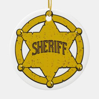 Sheriffs Star Badge Ceramic Ornament