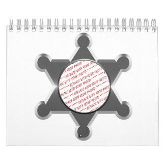 Sheriff's Tin Star Photo Frame Template Calendar