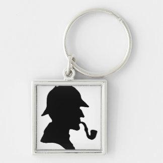 ¡Sherlock encima de sus llaves! Llavero Cuadrado Plateado