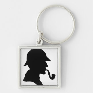 Sherlock Up Your Keys! Silver-Colored Square Keychain
