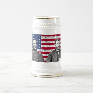 Sherman and Grant with The American Flag Beer Stein