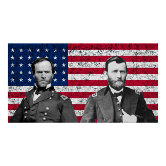 Sherman and Grant with The American Flag Poster