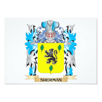 Sherman Coat of Arms - Family Crest 5x7 Paper Invitation Card