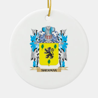 Sherman Coat of Arms - Family Crest Double-Sided Ceramic Round Christmas Ornament
