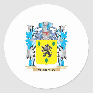 Sherman Coat of Arms - Family Crest Classic Round Sticker
