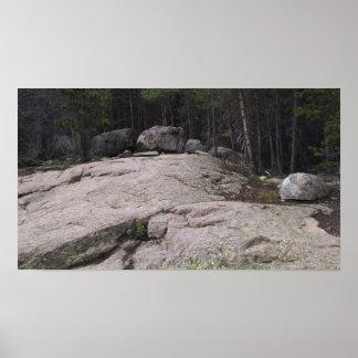 Sherman granite boulders, on rock face, Colorado Poster