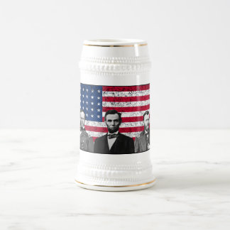Sherman, Lincoln, and Grant with Black Border Beer Stein