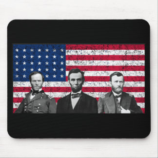 Sherman, Lincoln, and Grant with Black Border Mouse Pads