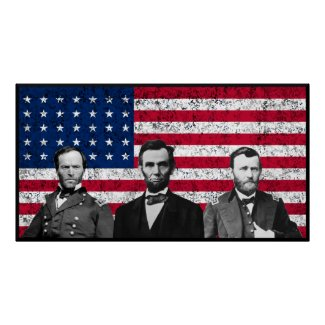 Sherman, Lincoln, and Grant with Black Border print
