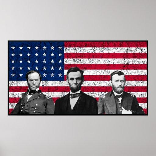 Sherman, Lincoln, y Grant con la frontera negra Posters
