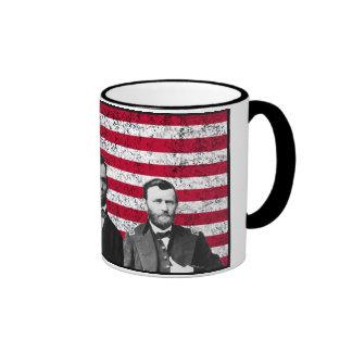 Sherman, Lincoln, y Grant con la frontera negra Taza De Café