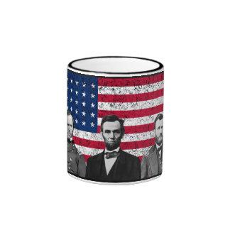 Sherman, Lincoln, y Grant con la frontera negra Taza A Dos Colores