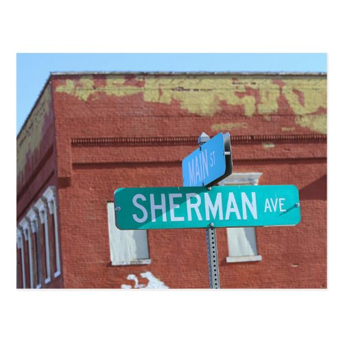 Sherman Street Sign in Kingman, Kansas Postcard