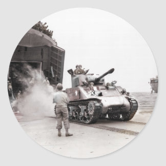 Sherman Tank and LST Classic Round Sticker