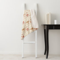 Sherpa Throw Blanket-Medium Ivory Red Chicken