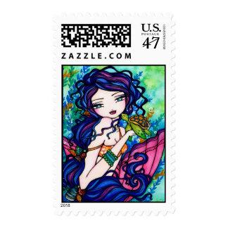 Sherriella Mermaid Fantasy Fairy Turtle Postage Stamp