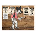 Sherrif viejo con el arma dibujado tarjeta postal