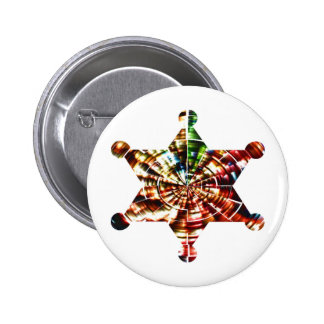 Sherrif's Badge - Holistic Sparkling Red Energy 2 Inch Round Button