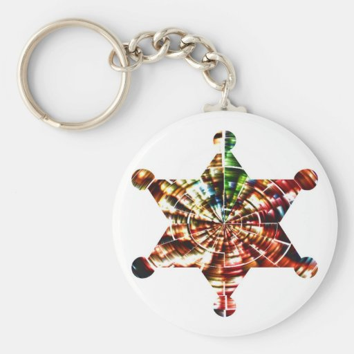 Sherrif's Badge - Holistic Sparkling Red Energy Key Chains