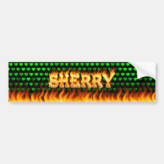 Sherry real fire and flames bumper sticker design.