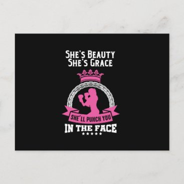 She's A Beauty She'll Punch You In The Face Women Holiday Postcard