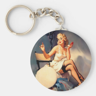 She's a Starlet Pin Up Girl Basic Round Button Keychain